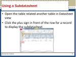 using a subdatasheet