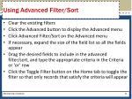 using advanced filter sort