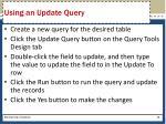 using an update query
