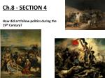 ch 8 section 4 how did art follow politics during the 19 th century