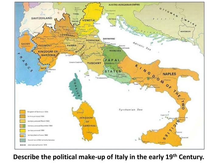 Describe the political make-up of Italy in the early 19