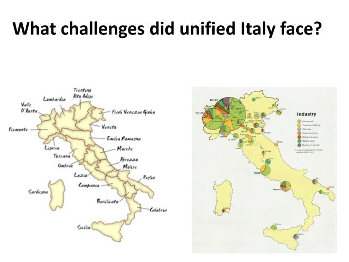 What challenges did unified Italy face?