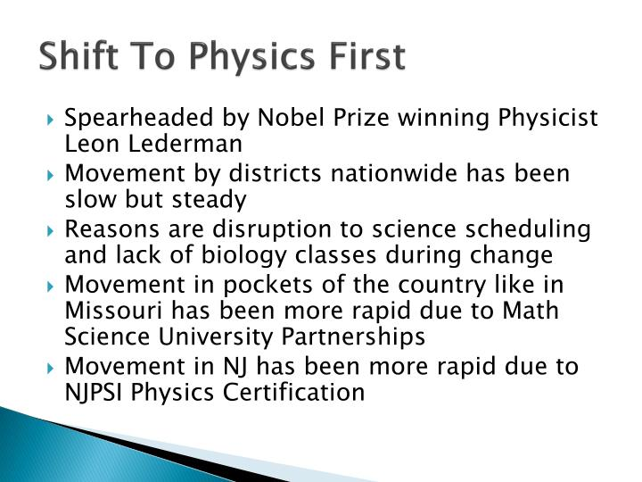 Shift To Physics First