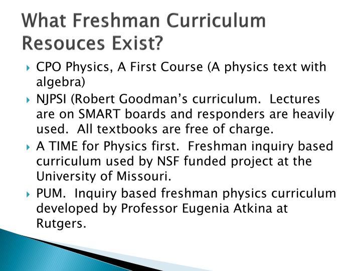 What Freshman Curriculum