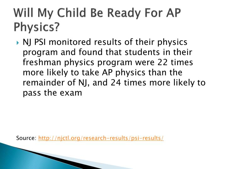 Will My Child Be Ready For AP Physics?
