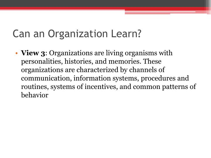 Can an Organization Learn?
