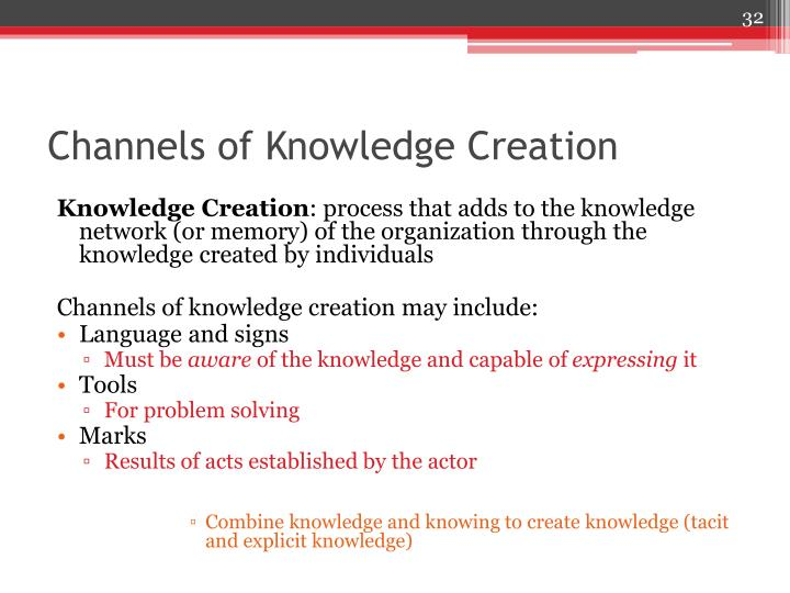 Channels of Knowledge Creation