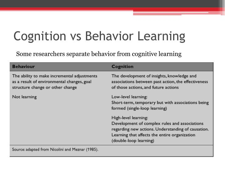 Cognition vs Behavior Learning