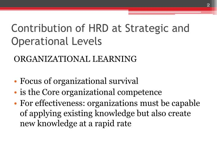 Contribution of HRD at Strategic and Operational Levels
