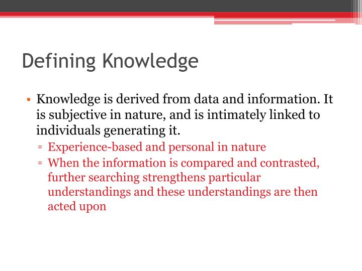 Defining Knowledge