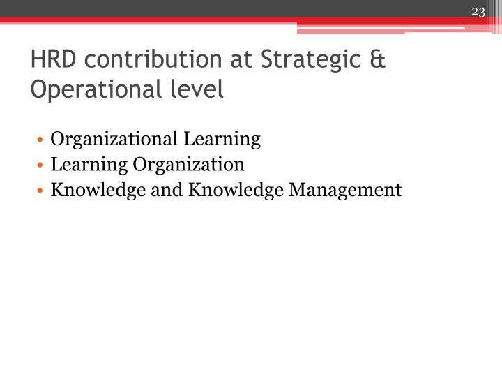 HRD contribution at Strategic & Operational level