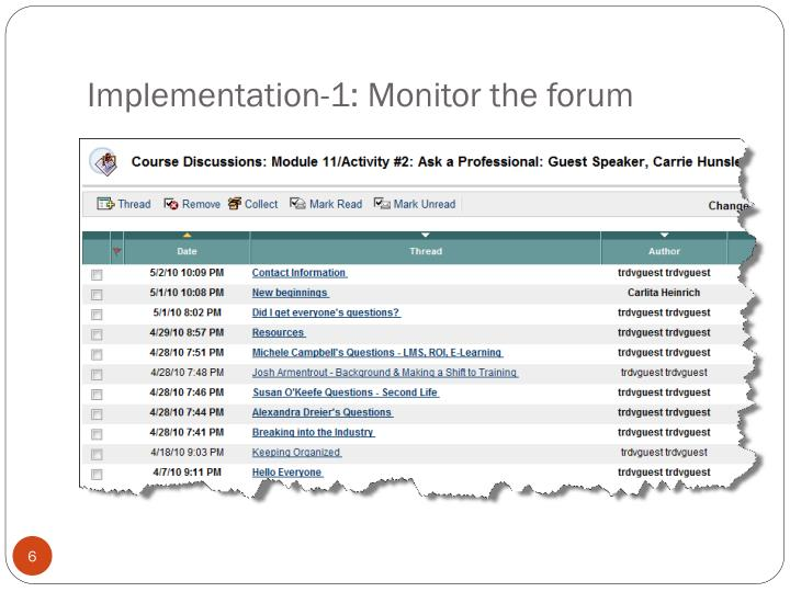 Implementation-1: Monitor the forum