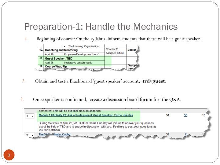 Preparation-1: Handle the Mechanics