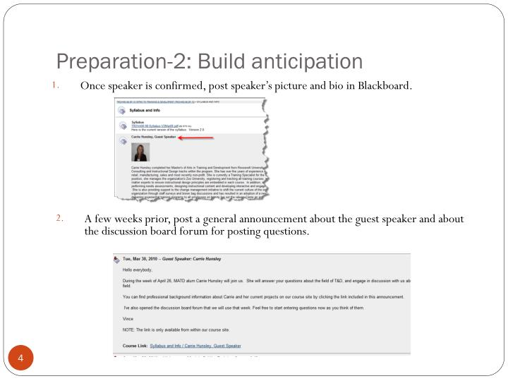 Preparation-2: Build anticipation