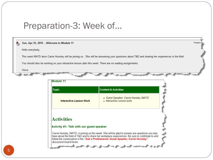 Preparation-3: Week of…