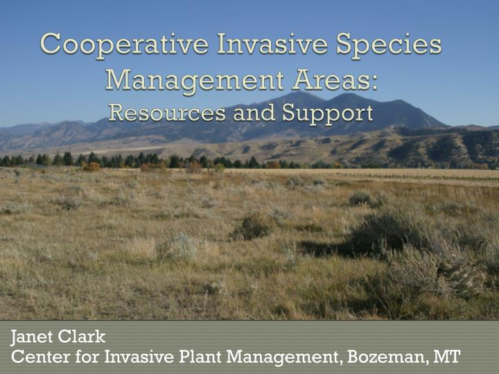 Cooperative invasive species management areas resources and support
