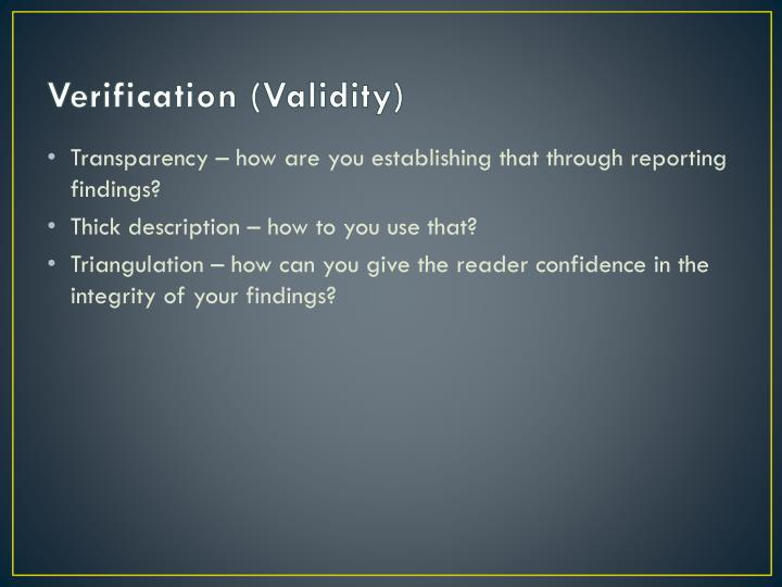 Verification (Validity)