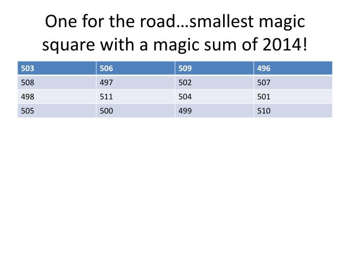 One for the road…smallest magic square with a magic sum of 2014!