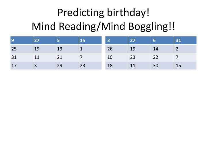 Predicting birthday mind reading mind boggling