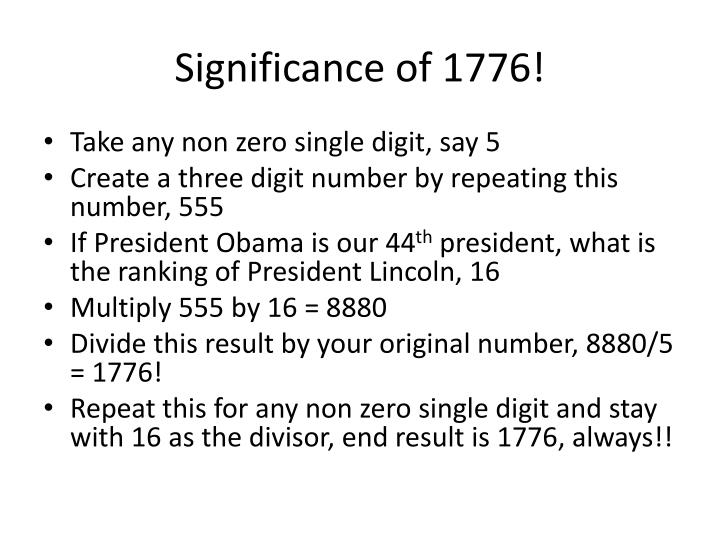 Significance of 1776!