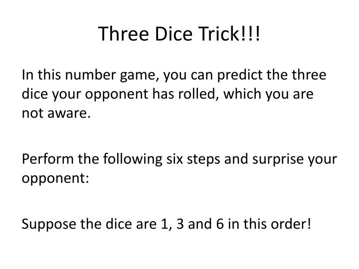 Three Dice Trick!!!