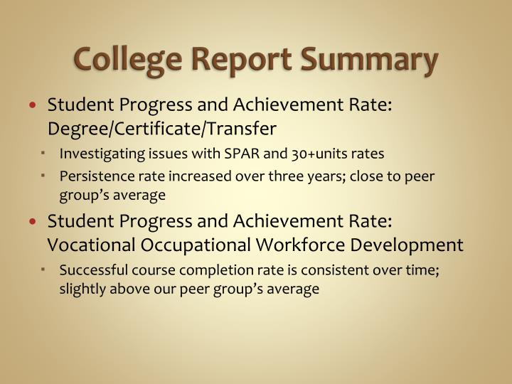 College Report Summary