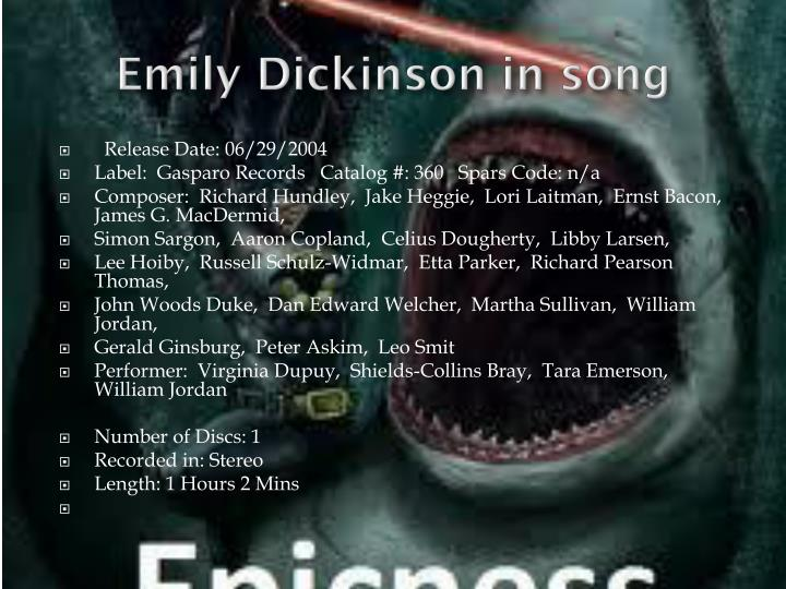 Emily Dickinson in song
