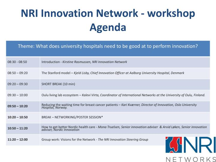 Nri innovation network workshop agenda