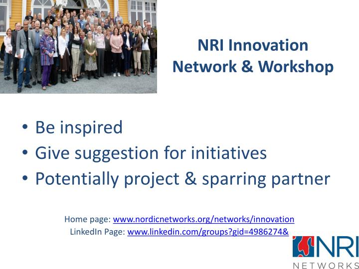 NRI Innovation Network & Workshop