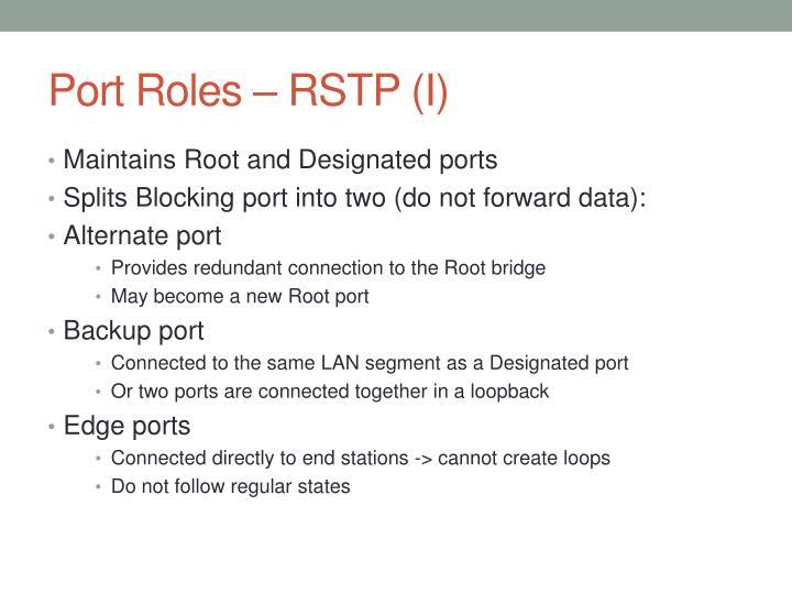 Port Roles – RSTP (I)