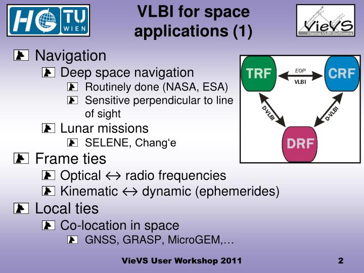 Vlbi for space applications 1