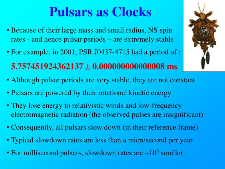 Pulsars as Clocks