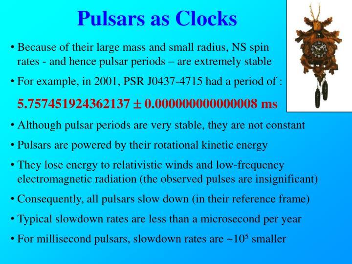 Pulsars as Clocks