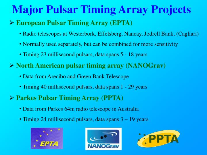 Major Pulsar Timing Array Projects
