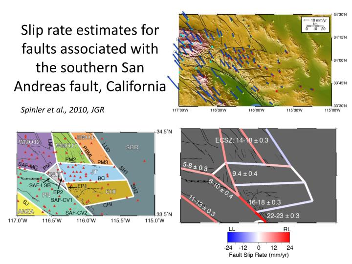 Slip rate estimates for faults associated with the southern san andreas fault california