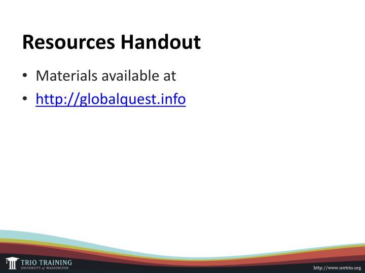 Resources Handout