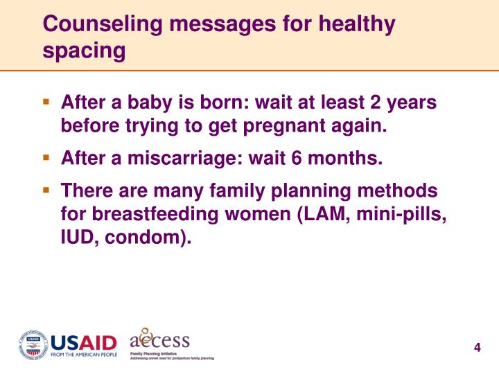Counseling messages for healthy spacing