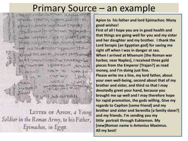 Primary Source – an example