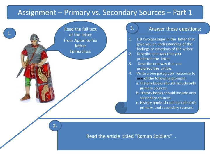 Assignment – Primary vs. Secondary Sources – Part 1