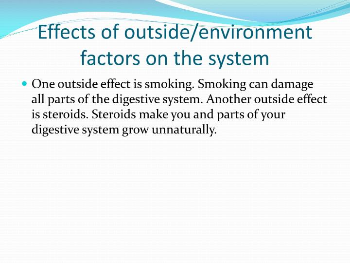 Effects of outside/environment factors on the system