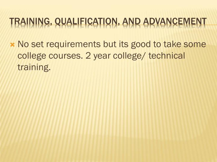 No set requirements but its good to take some college courses. 2 year college/ technical training.