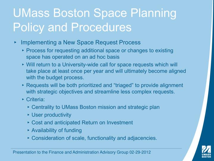 Umass boston space planning policy and procedures