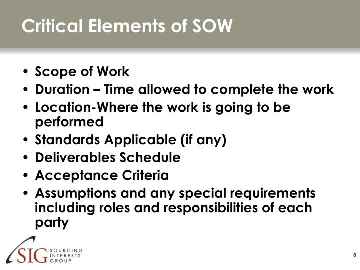 Critical Elements of SOW