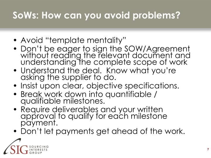 SoWs: How can you avoid problems?