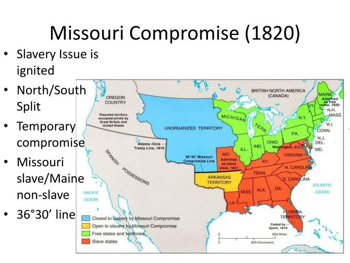 missouri compromise Prohibiting the african slave trade prohibing slavery in new territories (as in northwest ordinance) enacting post-nati manumission laws where slavery existed.