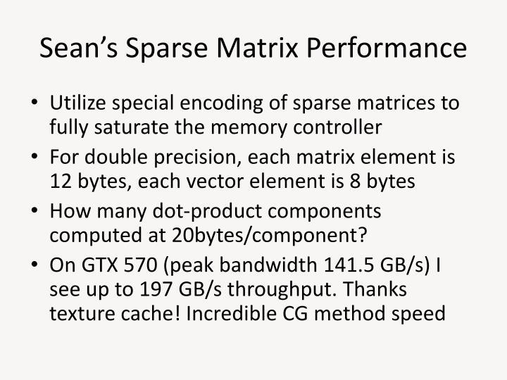 Sean's Sparse Matrix Performance