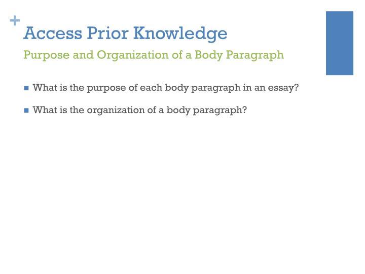 Access Prior Knowledge