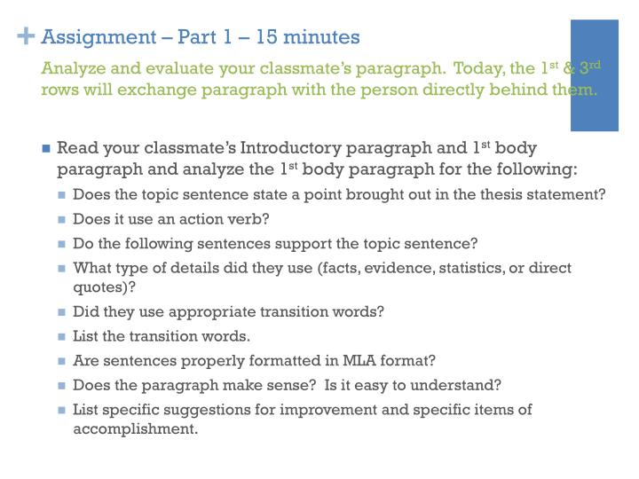 Assignment – Part 1 – 15 minutes