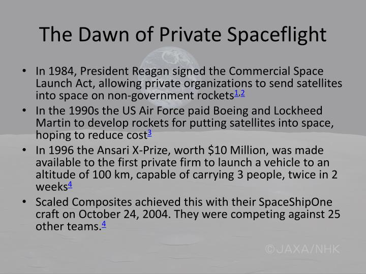The Dawn of Private Spaceflight