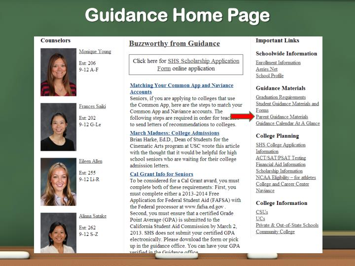 Guidance home page
